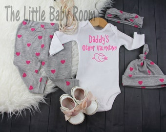Girls My First Valentine Set,Daddy's Other Valentine,Personalized Onesie,Baby Legging Headband,Heart,Gray Pink,Coming Home Set,Hat,newborn