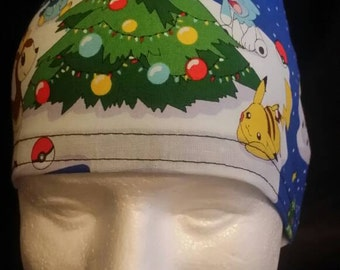 Pikachu's Christmas Pokemon Go! Tie Back Surgical Scrub Hat