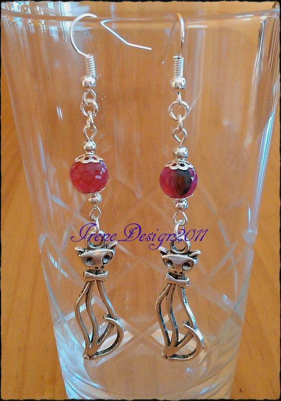 Pink Vein Agate & Silver Cat Earrings by IreneDesign2011