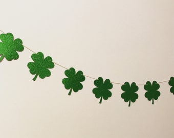 St. Patric banner/irish party garland/party decor/birthday banner/nursery decor/green garland/greenery decor/shamrock garland