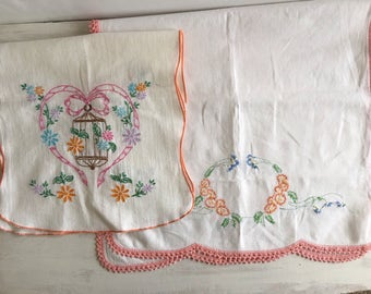 Two Vintage Embroidered Table Runners With Peach Color Accents