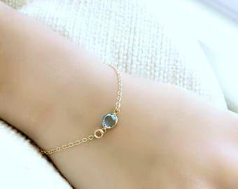 Aquamarine Birthstone Bracelet Aquamarine Swarovski jewelry 14k Gold Filled Swarovski birthstone Bracelet Personalized Birthstone Bracelet