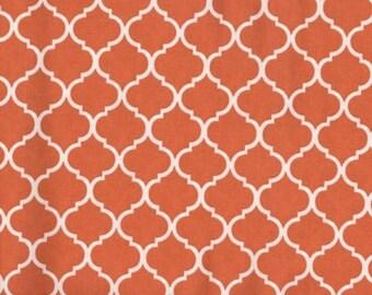 Mini Quatrefoil Fabric White on Burnt Orange 100% Cotton