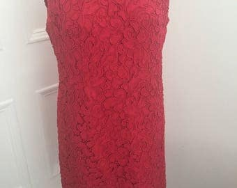 Beautiful red true vintage lace shift dress