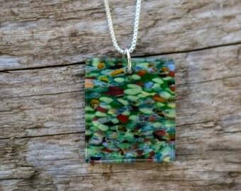 green fantasy mosaic necklace