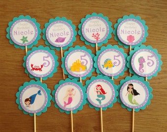 Mermaid / Under the Sea Personalised Cupcake Toppers ~ for Mermaid Birthday Party ~ Assorted or Ariel Inspired