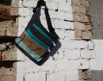 Waxed canvas Stripes Belt Bag