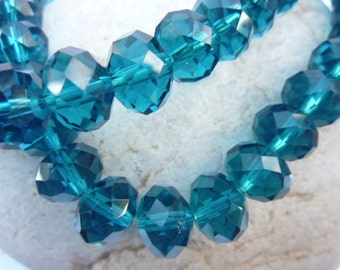 70 pce Cyan Blue Faceted Crystal Cut Abacus Glass Beads 12mm x 8mm