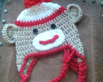 Crochet baby sock monkey hat, oatmeal & red, toddler monkey hat, monkey beanie, brown and red sock monkey hat