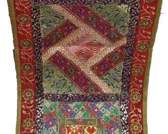 Indian antique sari beaded patch work embroider tapestry wall hanging table runner throw home decoration