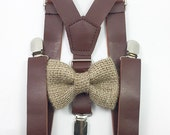 FREE DOMESTIC SHIPPING! 1 inch brown faux leather suspenders and burlap bow tie wedding pictures birthday formal