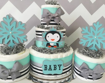 Amazing Penguin Winter Diaper Cake In Mint, Gray And Black, Penguin Baby Shower  Centerpieces