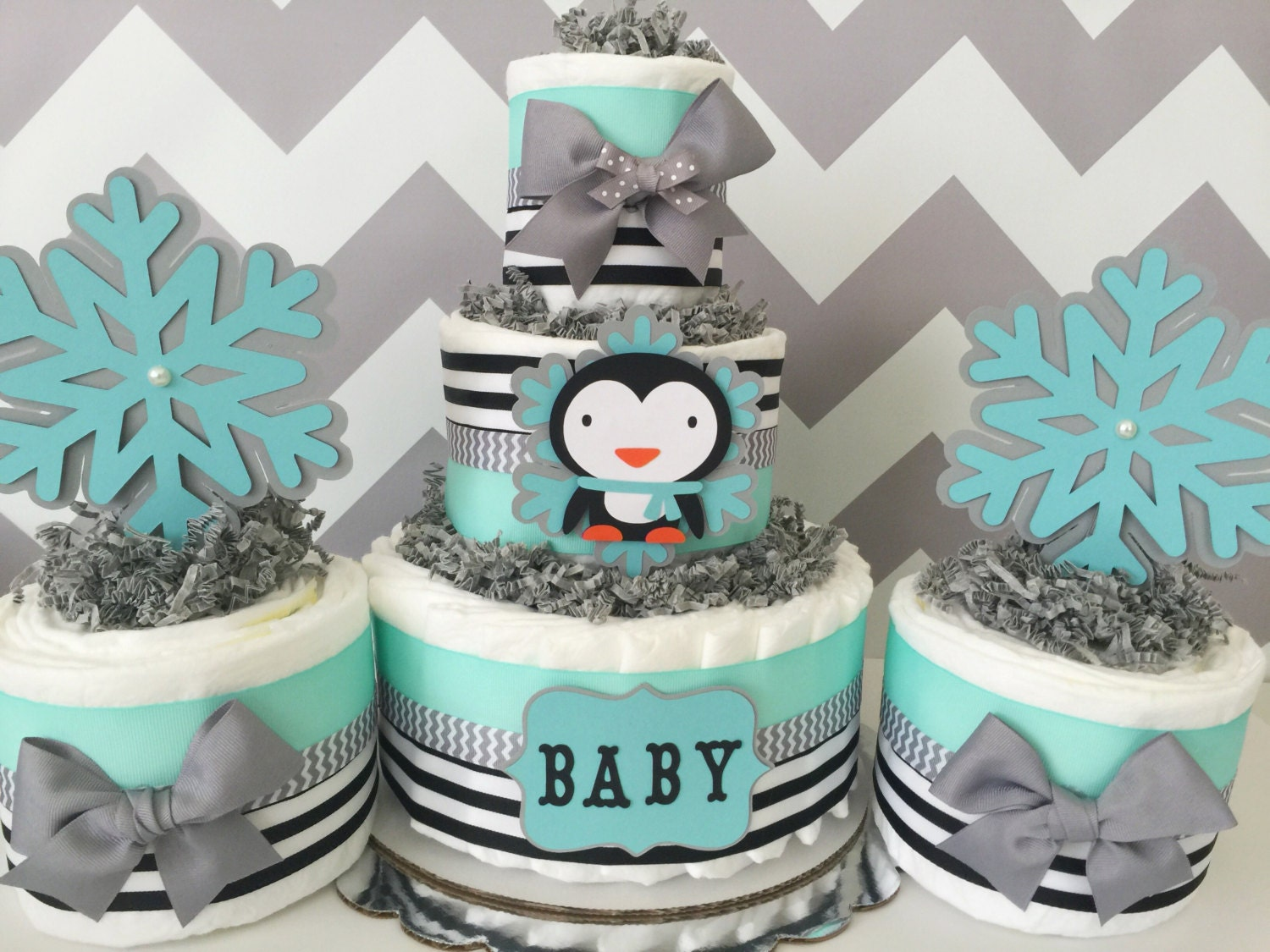 Penguin Winter Diaper Cake In Mint, Gray And Black, Penguin Baby Shower  Centerpieces