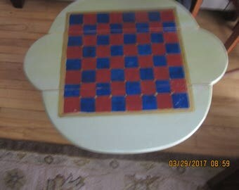 hand=painted checker top drop leaf table
