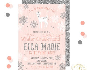 Winter Onederland Invitation | Winter Onederland Party | First Birthday Invitation | Deer Invitation | Snowflakes | Silver Glitter Invite