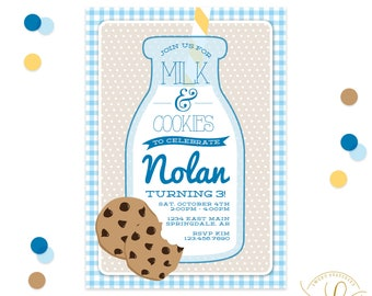 Milk and Cookies Invitation | Milk and Cookies Party | Milk and Cookies Baby Shower | Cookies and Milk Invitation | Cookies and Milk Party