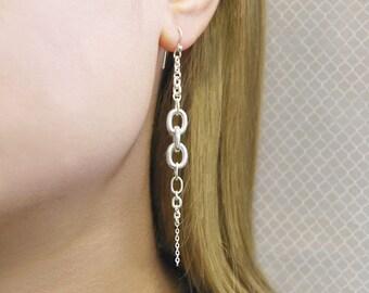 Chain Earrings, Silver Dangle Earrings, Long Drop Earring, Mothers Day Gift, Unusual Earrings, Sterling Silver Earrings, Silver Drop Earring
