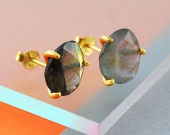 Labradorite Stud Earrings, Gold Earrings, Gemstone Studs, Edgy Earrings, Cute Earrings, Green Gemstone, 925 Silver Studs, Designer Earrings