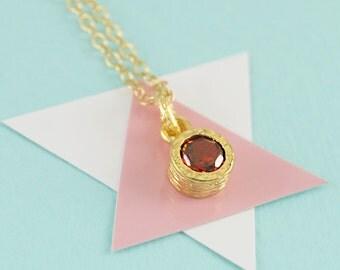 Garnet Necklace, Gold Necklace, Gemstone Pendant, January Birthstone Necklace, Birthstone Gift, Birthstone Jewelry, Gold Gemstone Necklace,