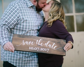 Save the Date Sign//Customized Save the Date Sign//Engagement Picture Photo Prop