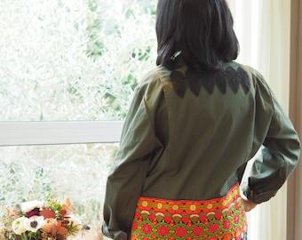 Military khaki multicolored ethnic decore and Black Lace bomber jacket
