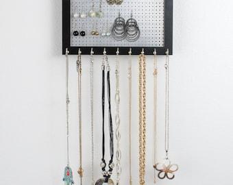 Hook Earring & Necklace Organizer - 8x10 Black Frame - Hanging Jewelry Organizer