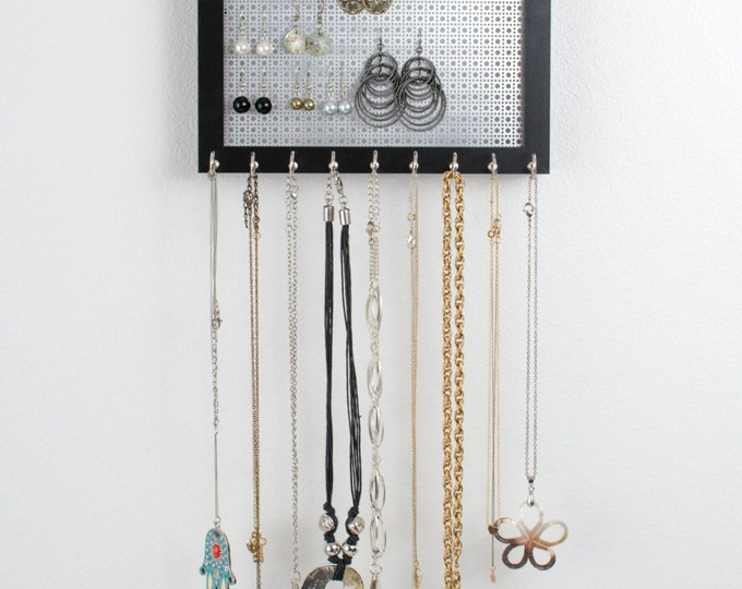 Hook Earring & Necklace Organizer - 8x10 Black Frame - Metal Screen - Hanging Jewelry Organizer
