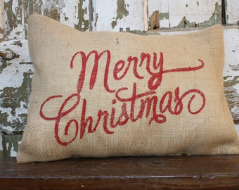 Burlap Merry Christmas Holiday Pillow Cover 12x16