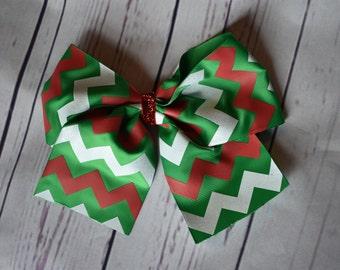 Red, Green, White Chevron Cheer Bow