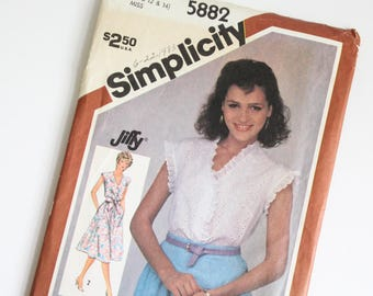 SIZE 10 12 14 5882 Simplicity Women's Pullover Dress or Shirt Top Blouse UNCUT Sewing Pattern Vintage 1980s Eighties V Neck Button Down