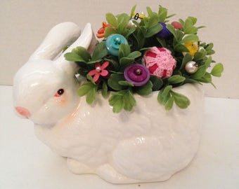 Vintage Button Bouquer tucked in Large Bunny~Easter/Spring Home decor