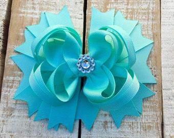 Aqua Boutique Bow - Aqua Hair Bow - Blue Headband - Aqua Blue Rhinestone Hair Bows