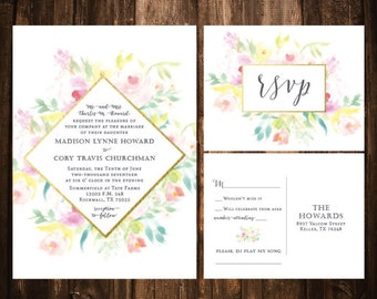 Diamond Pastel Floral Spray Wedding Invitations; Watercolor; Printable OR set of 25