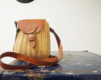 50% off * vintage-80's rattan crossbody bag