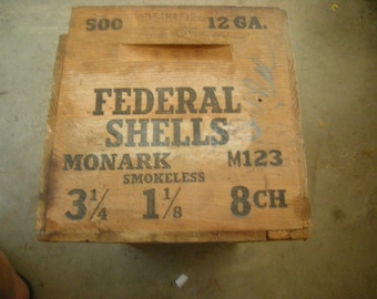 vtge Monark crate-federal shells crate-wood box-Federal cartridge co.-storage-salvage-rustic-shelving-