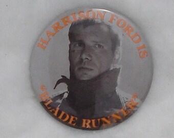 """Harris Ford Bladerunner 2-1/4"""" Tin Button"""
