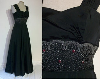 "Superb 1940s evening gown w/beautifully beaded midriff bust 31"" XS"