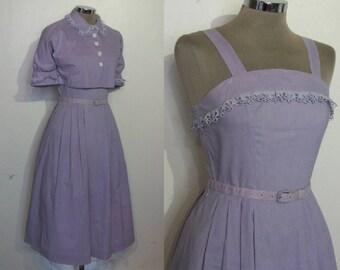 "Charming 1950s cotton sundress waist 25"" w/puff sleeve bolero, self belt"