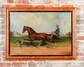 James Hill -  Horse Dexter & Budd Doble.-Original 19th century Oil Painting