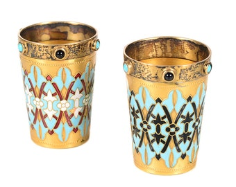 Pair of Antique Russian Silver Gilt & Enamel Shot Glasses -Signed