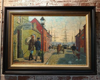 Arthur Sarnoff -New Bedford Waterfront -Oil Painting
