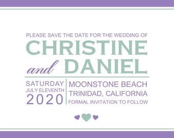 Simple Save the Date 7x5 Custom Digital Card