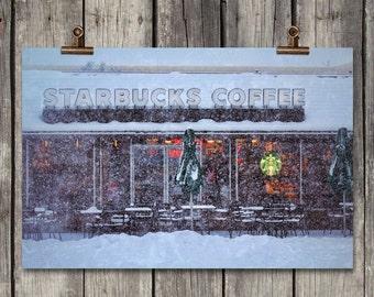 Snowy Starbucks Coffee - Winter Storefront - Yakima, WA - Fine Art Print - Canvas Gallery Wrap - Metal Print