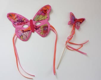 Butterfly Mask and Wand Set - Pink & Orange