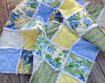 Baby Girl Rag Quilt, Crib Quilt, Toddler Blanket, VictorianShabby Style, Glorious Garden, April Cornel, 35 X 48. Yellow, Blue, Ready to Ship