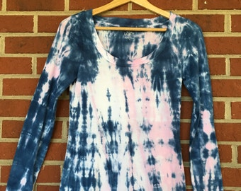 Pink & Indigo Long Sleeved Shibori Tee, Women's Tie Dye T Shirt, Size Small, Scoop neck, Upcycled