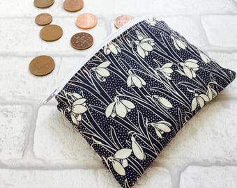 Liberty fabric snowdrop coin purse, liberty fabric purse, Liberty loose change purse, Liberty zippered pouch, Liberty coin pouch