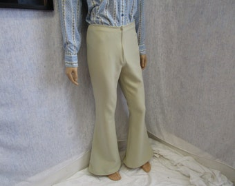 "70s 33"" x 34"" Polyester Men's BELL BOTTOMS Pants Beige WeirdoWear"