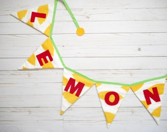 Lemonade Stand Banner - Summer Bunting - Lemonade Party - Lemon Yellow - Red Letters - Lemon sign - Party Decoration -  Barbecue - Wedding