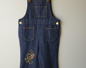 Vintage Health-Tex denim bellbottom western overalls - cowboy size 3t